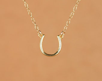 Good luck charm - horseshoe necklace - tiny gold horseshoe - lucky charm - a delicate little horseshoe on a 14k gold vermeil chain