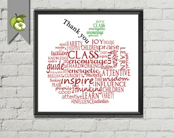 Teacher Appreciation Gift, Apple, Thank you, word art cloud, printable digital apple retirement printable end of term year print