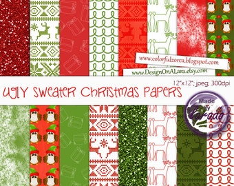 Ugly sweater Christmas papers, Holiday Scrapbook Papers, Christmas Digital Paper pack for invites, digital scrapbooking, DIY invitation
