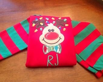 Cute boy reindeer on Christmas pajama,  matching girly reindeer- Sibling Holiday Pajamas- Rudolph Christmas Pajamas -Christmas Red and green