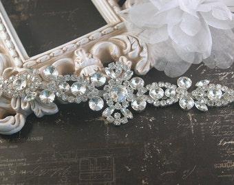 Authentic Rhinestone Applique ~ Crystal Applique ~ Bridal Applique, Wedding Applique, Sash Applique, Headband Jewelry, DIY Wedding, RA-006