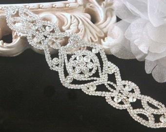 Authentic Rhinestone Applique ~ Crystal Applique ~ Bridal Applique, Wedding Applique, Sash Applique, Headband Jewelry, DIY Wedding, RA-013