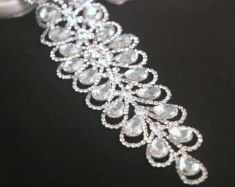 Authentic Rhinestone Applique ~ Crystal Applique ~ Bridal Applique, Wedding Applique, Sash Applique, Headband Jewelry, DIY Wedding, RA-020