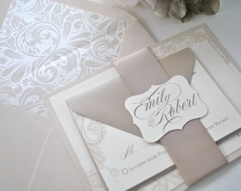 Lovely Ivory and Lace Wedding Invitation - sample
