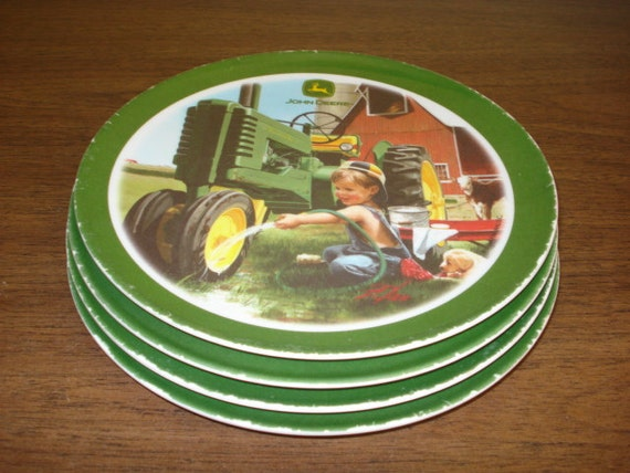 John Deere Plates : Set of john deere melamine plates farm boy with by