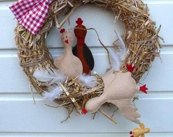 Chicken Wreath - DIY kit without straw wreath