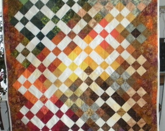 Colorful fall lap quilt
