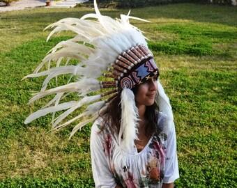 X50 White Feather Headdress / Warbonnet
