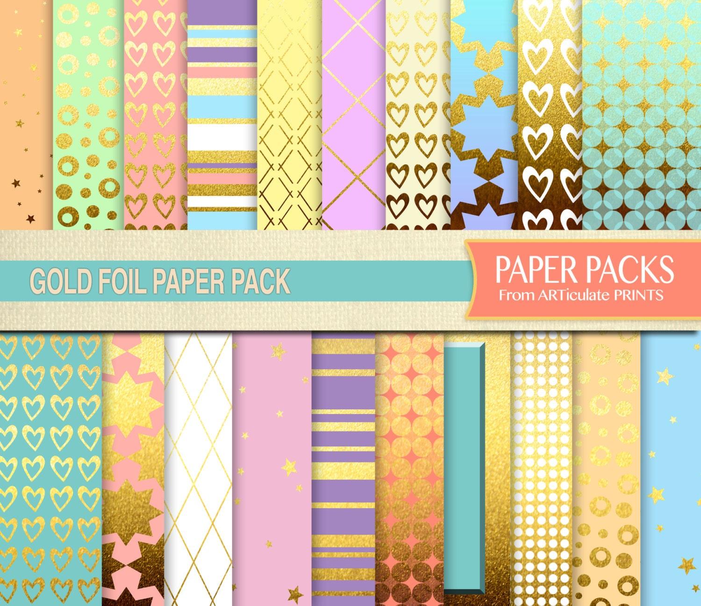 Scrapbook paper download - Gold Foil Metallic Digital Scrapbook Paper Pack Instant Download 12x12 Gold And Pastel Scrapbook Paper Download