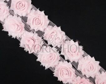"""Pale Pink - 1 Yard Solid Shabby Trim - 14 Chiffon 2.5"""" Rosettes - Y-SST-017"""