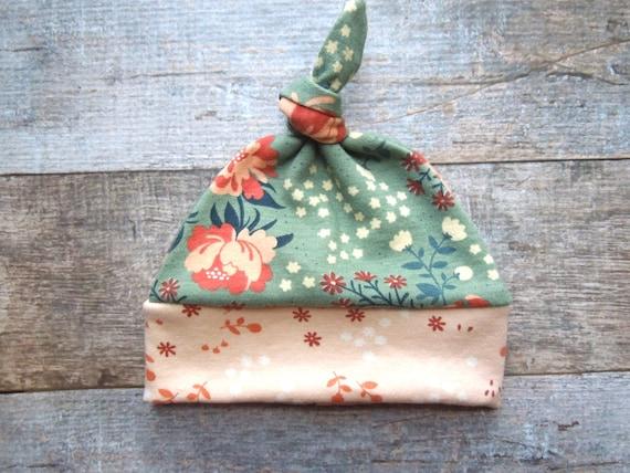 Organic Baby Hat, Fall Baby Hat, Baby Girl Knot Hat, Floral, Baby Topknot Hat, Baby Knot Hat, Baby Girl Beanie, Beanie,