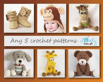 Crochet Patterns, Amigurumi, Animal Crochet Pattern, 5 Crochet Patterns Deal