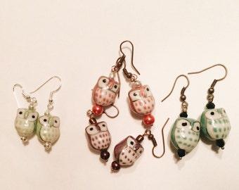 Multi-colored Owl Earrings