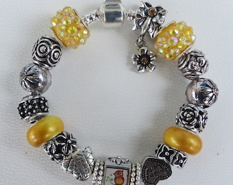 Owl, European Style Charm Bracelet - Golden Lampwork Glass And Crystal Beads, Silver Wings, Heart Bead