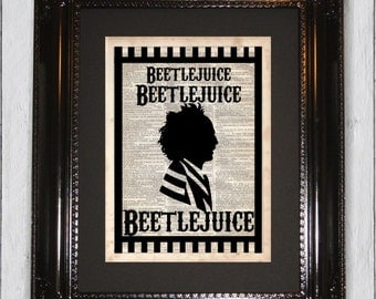 Beetlejuice Silhouette, Dictionary Art Print, Upcycled Book Art, Silhouette, dictionary page Wall Decor, Wall Hanging, Mixed Media Art