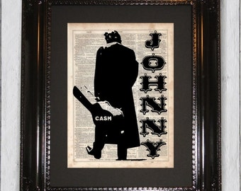 Johnny Cash Art Print, Dictionary Art Print, Upcycled Book Art, Silhouette, dictionary page Wall Decor, Wall Hanging, Mixed Media Art