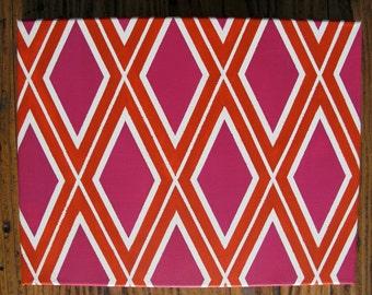 Magenta, Orange, and White Geometric Painting