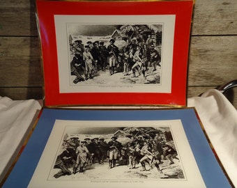 vintage serving tray set with George Washington and the Committee of Congress at Valley Forge by David Douglas patriotic American