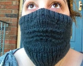 Ribbed Knitted Face Warmer/Face Mask- Double Thick