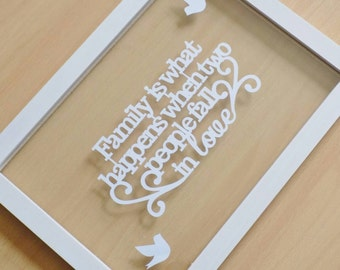 Papercut quote 'family is what happens when two people fall in love' in an a4 floating frame
