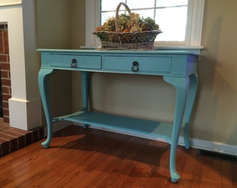 Vintage Aqua Library Table with Two Drawers and Queen Anne Legs