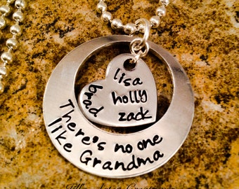 Personalized Grandma Necklace, There's No One Like Grandma Necklace, Gift From Grandkids Necklace, Aluminum Jewelry