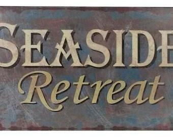 "Rustic Tin 'Seaside Retreat' Beach Wedding Sign 10"" / Wedding Decorations / Wedding Decor / Wedding Signs / Weddings"