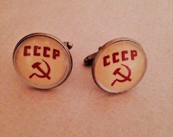 Soviet USSR CCCP Cufflinks -Unique Beautiful handmade (FREE or low cost shipping)