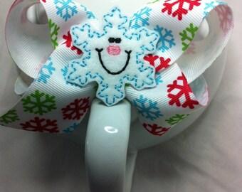 Christmas Snowflake Felty Hair bow. Christmas Snowflake felty Boutique hair bow  clip headband.