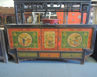 Antique Chinese Storage Credenza in Distressed Multi Colors Orange & Green (Los Angeles)