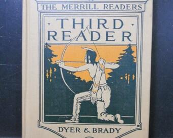 Vintage 1923 School Book - Third Reader - Merrill