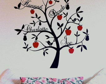 Family tree wall sticker - bespoke apple and pears design