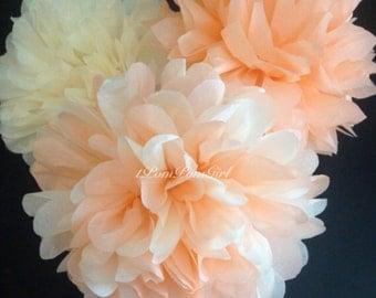 PEACH COBBLER // 15 tissue paper pom poms / wedding decorations / birthday decor / tissue paper flowers / pom poms / nursery / bridal shower