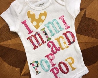 Appliqued, I heart mimi and pop pop in beautiful fabrics