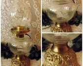 Antique Brass Hurricane Oil Lamp EAPG Glass - Electrified