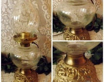 Antique Brass Hurricane Oil Lamp EAPG Glass - Electrified