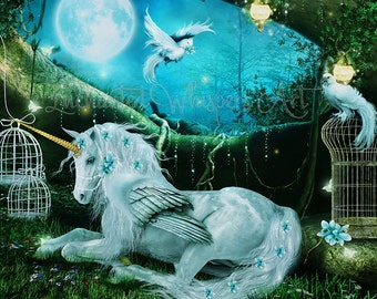 fantasy unicorn art print by Enchanted Whispers