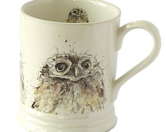 Owl Stoneware Mug - Bird Mug, Woodland Theme, Country Kitchen Gift, Hygge