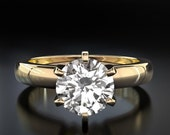Diamond Engagement Ring Solitaire H VVS2 Round Cut Diamond 14K Yellow Gold Setting For Women