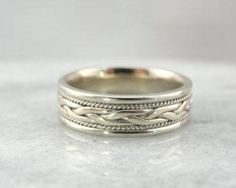 Braided White Gold, Vintage Wedding Band 87CACY-N
