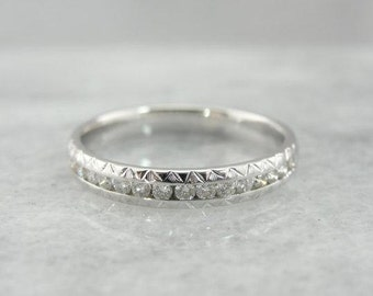 Hand Engraved Channel Set Diamond Band-V9HADF