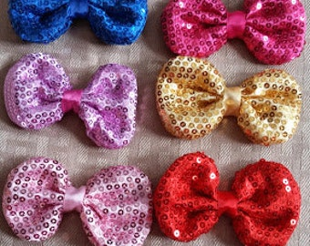 3'  6 ct-Sequin Puffy Bow- Girl hair bows- boutique sequin-
