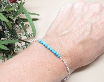 Turquoise Bracelet, Blue Gemstone Bracelet In Sterling Silver, Semiprecious Bracelet, 7.25-8.5 Inches Length, December Birthstone