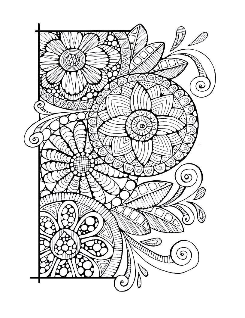 Adult Colouring Page Cirlces And Swirls Original Digital