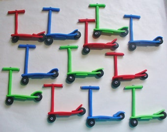12 3D Razor type SCOOTERS Edible Fondant Cupcake or Cake Decorations