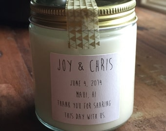 One hundred, 4 ounce soy candle wedding favor (style 009)