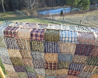 Cozy Ragged Reversible Homespun Rag Quilt !!!! From Twin to King Size!!!!  Made To Order Just For You !!!