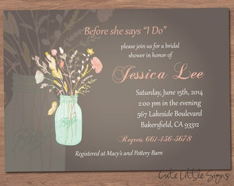 Country Bridal Shower Invitation Digital Download