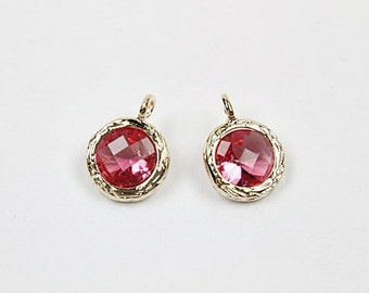FS05-03 (AKX12-04), 10 pcs, 7.5X10mm, Round Pendant , Ruby, Cutting glass and gold-plated brass, Framed glass, Jewelry component