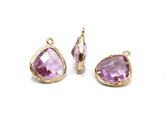 FS07-09 (AKX01-10), 2pcs, 15.5x13mm, Tear drop, Cutting glass and gold-plated brass, Framed glass, Jewelry component